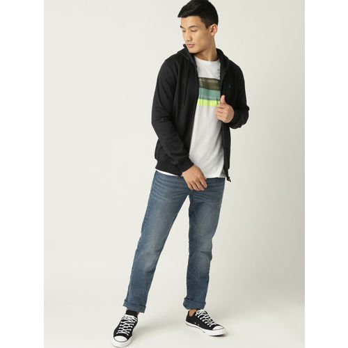 Allen Solly Sport Men Black Solid Hooded Sweatshirt