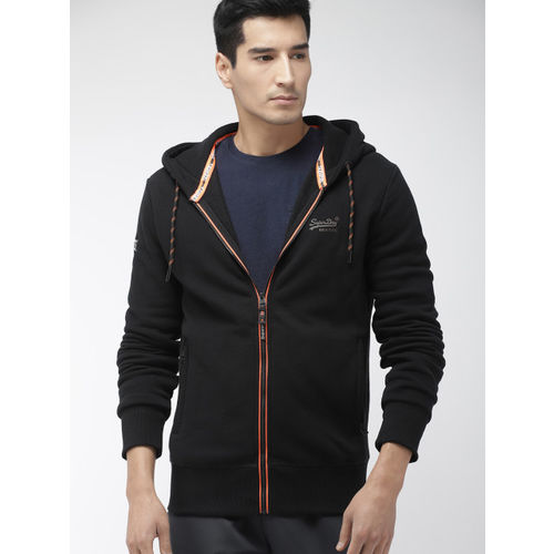 Superdry Men Black Solid URBAN Z Hooded Sweatshirt