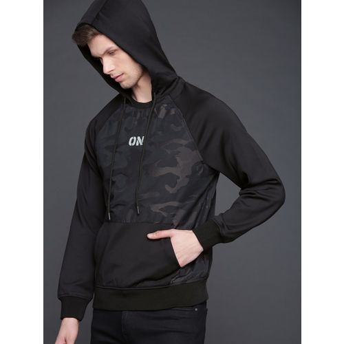 WROGN Men Black & Navy Blue Printed Hooded Sweatshirt