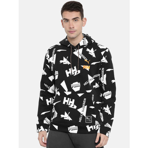 Puma Helly Hansen Men Black & White Printed PUMA x HH AOP Hooded Sweatshirt