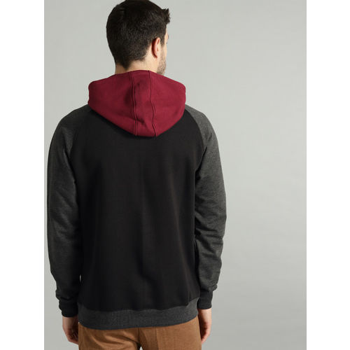 Roadster Men Black & Maroon Colourblocked Hooded Sweatshirt