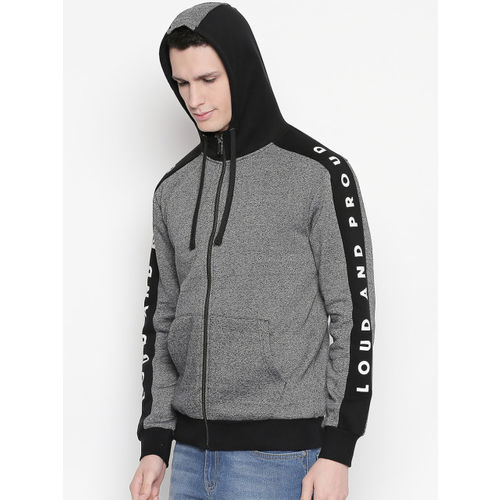 SF JEANS by Pantaloons Men Black & Grey Solid Hooded Open-Front Sweatshirt