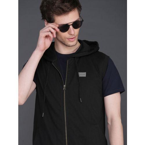 WROGN Men Black Slim Fit Solid Hooded Sweatshirt