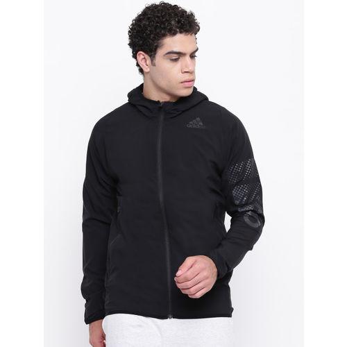 ADIDAS Men Black Logo Hoodie Training Jacket