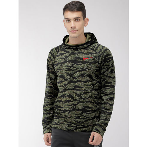 Nike Men Black & Olive Green Printed AS M NK SPOTLIGHT Hooded Basketball Sweatshirt
