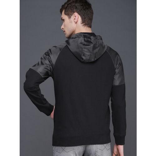 WROGN Men Black Solid Hooded Sweatshirt