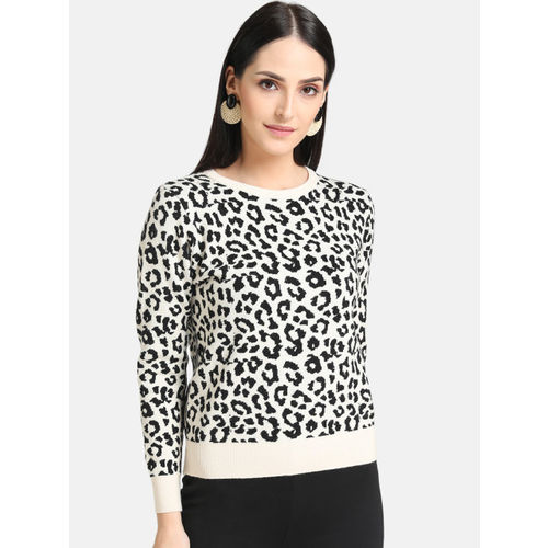 Kazo Women Black & White Animal Print Sweater