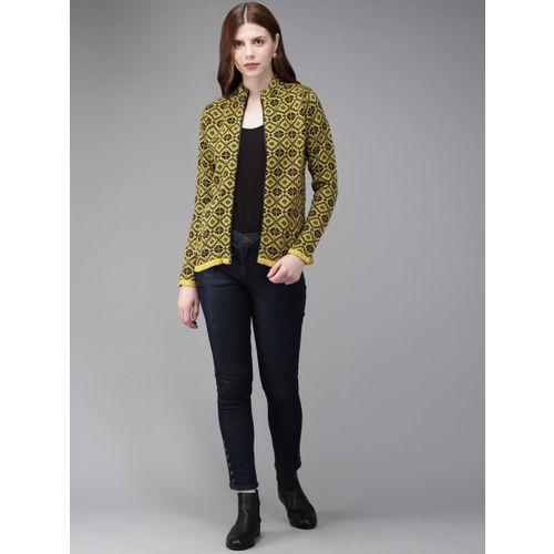 Anouk Women Black & Yellow Self Design Sweater