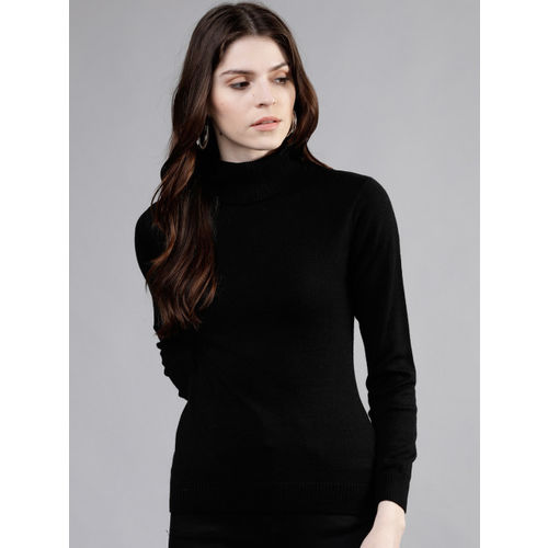 Tokyo Talkies Women Black Solid Sweater