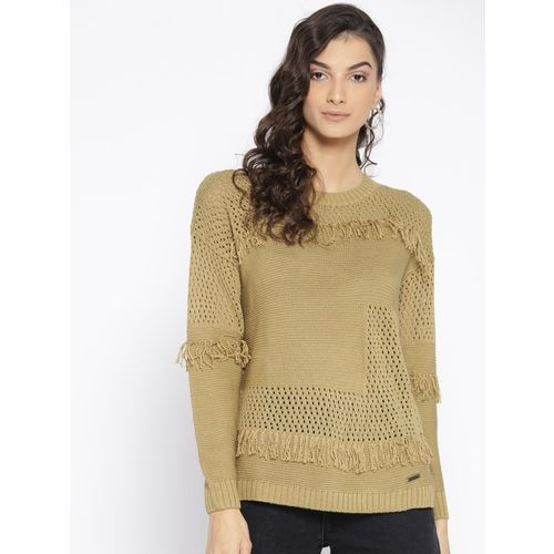 Roadster Self Design Round Neck Casual Women Beige Sweater
