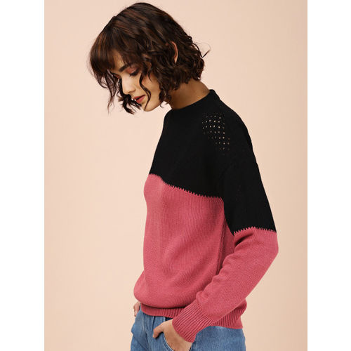 all about you by Deepika Padukone Women Black & Pink Colourblocked Sweater