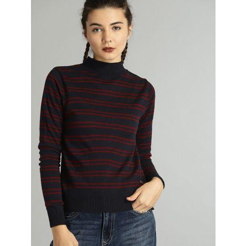 Roadster Striped Round Neck Casual Women Dark Blue Sweater