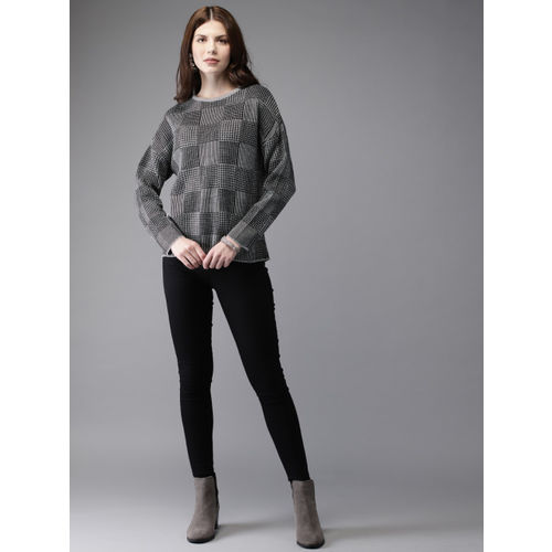 Anouk Women Black & Grey Melange Checked Sweater