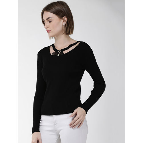 Fort Collins Women Black Ribbed Sweater