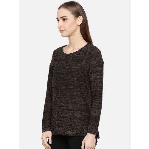 American Eye Women Black & Golden Self Design Sweater