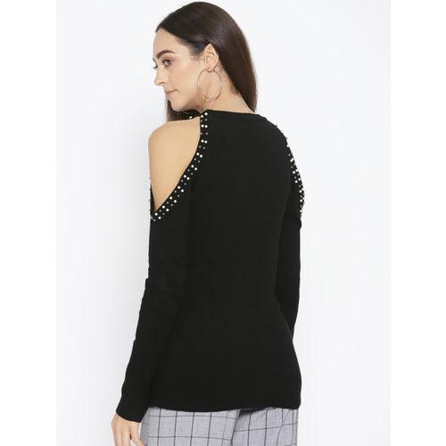 Fort Collins Women Black Cold-Shoulder Solid Sweater