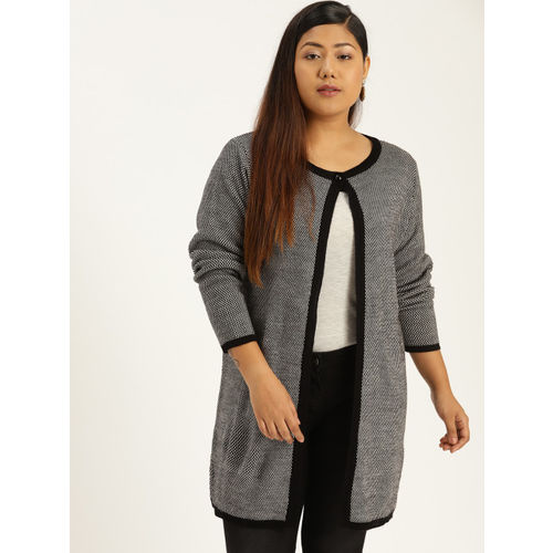 Sztori Women Black & White Self-Design Front-Open Sweater