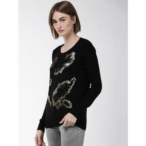 Fort Collins Women Black & Golden Embellished Sweater