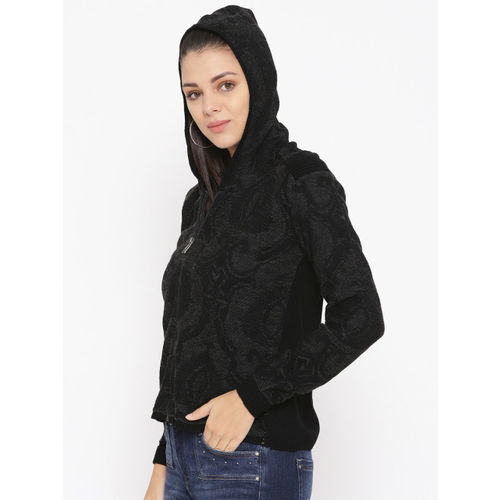 Duke Women Black Self-Design Woollen Hooded Cardigan
