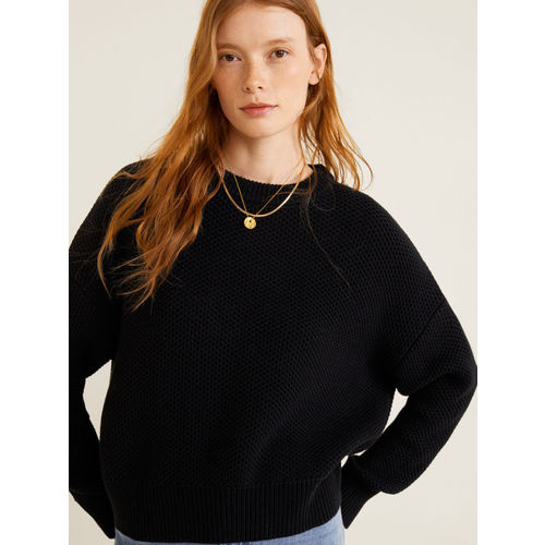 MANGO Women Black Self Design Sweater
