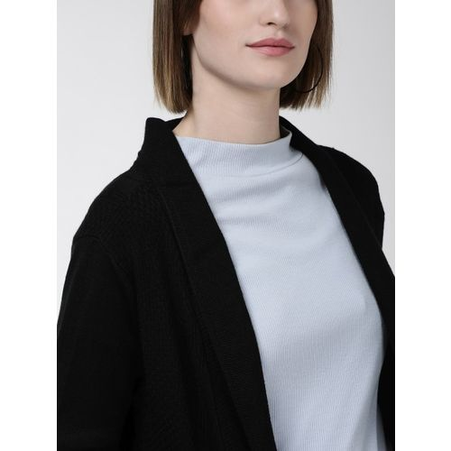 Fort Collins Women Black Solid Open Front Sweater