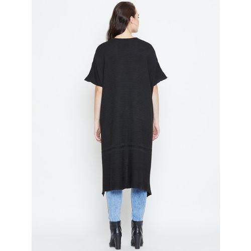 American Eye Women Black Ribbed High-Low Sweater