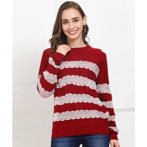 Park Avenue Striped Round Neck Casual Women White, Maroon Sweater