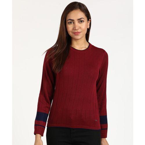 Van Heusen Self Design Round Neck Casual Women Maroon Sweater