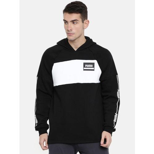 Puma Men Black Colourblocked Hooded Rebel Stripe Sweatshirt