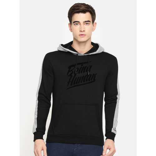 Being Human Clothing Men Black Printed Hooded Sweatshirt