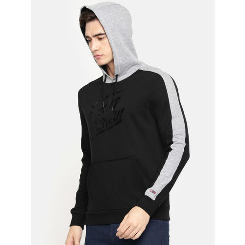 Being Human Clothing Men Black Printed Hooded Sweatshirt
