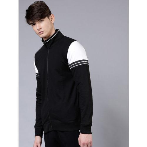 HIGHLANDER Men Black & White Colourblocked Sweatshirt