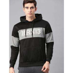 HRX by Hrithik Roshan Men Lifestyle Black & Grey Melange Colourblocked Hooded Sweatshirt