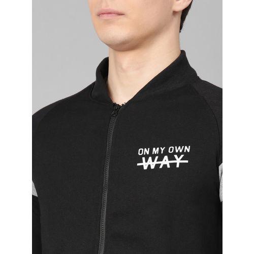 Maniac Men Black Solid Front- Open Sweatshirt