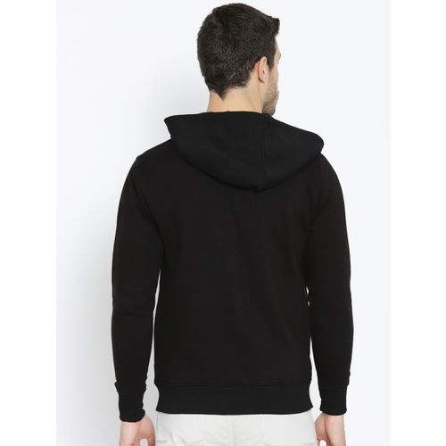 Roadster Men Black & White Printed Hooded Sweatshirt