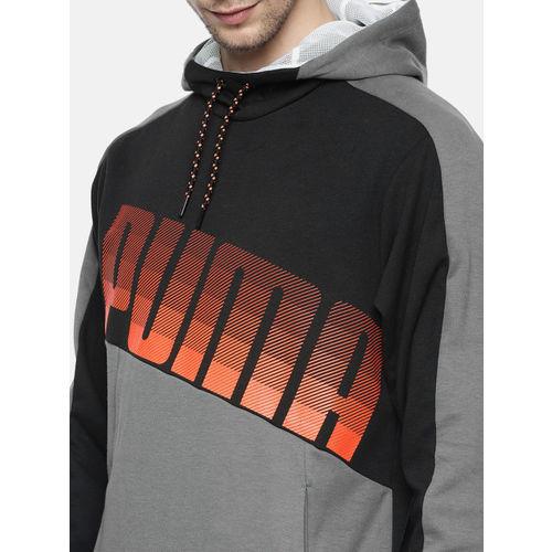 Puma Men Black & Grey Printed Hooded dry-CELL Technology CASTLEROCK Training Sweatshirt