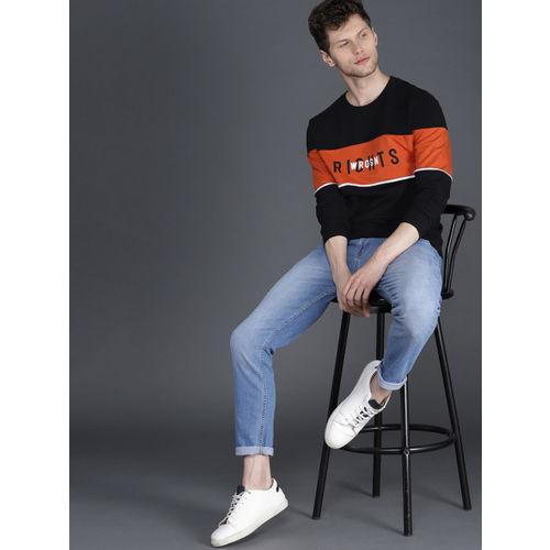 WROGN Men Black & Rust Orange Slim Fit Colourblocked Pullover Sweatshirt