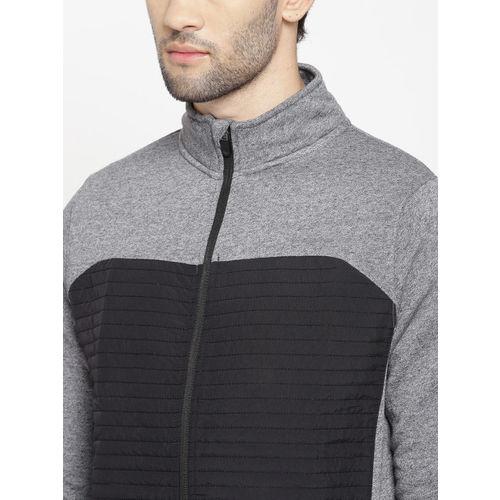 Blackberrys Men Black & Grey Melange Colourblocked Sweatshirt