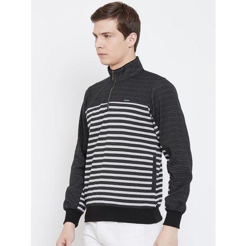 Monte Carlo Men Black & Off-White Striped Sweatshirt