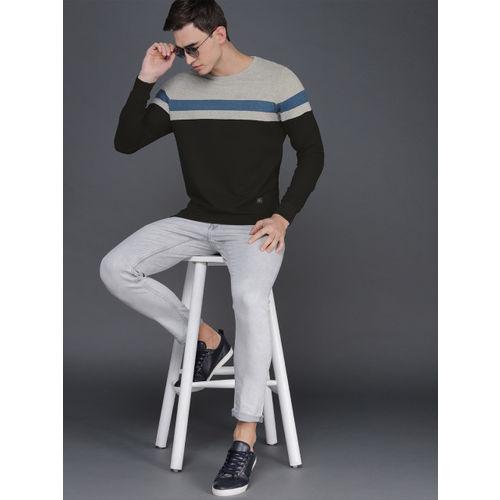 WROGN Men Black & Grey Melange Slim Fit Colourblocked Sweatshirt