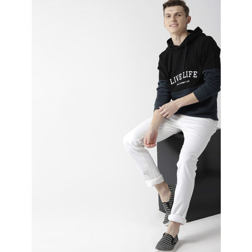 Mast & Harbour Men Black & Navy Blue Colourblocked Hooded Sweatshirt
