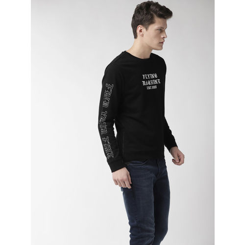 Flying Machine Men Black & White Printed Sweatshirt