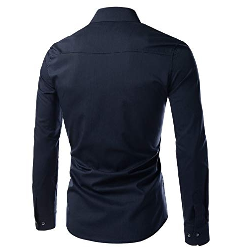 IndoPrimo Navy Blue Cotton Full Sleeves Party Wear Shirt