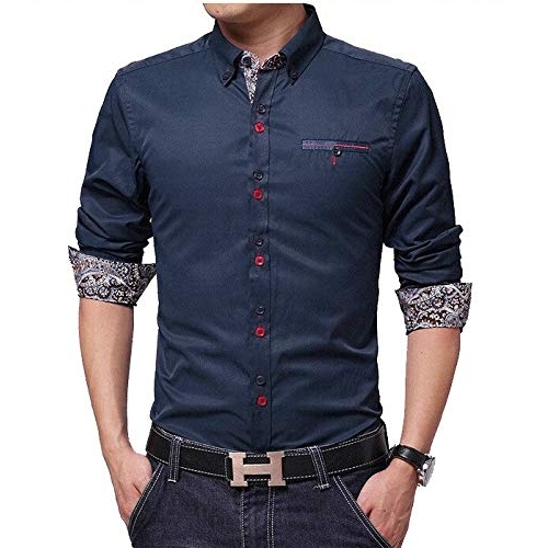 IndoPrimo Navy Blue Cotton Fancy Party Wear Shirt