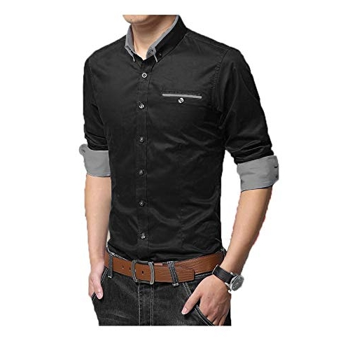 IndoPrimo Black Cotton  Full Sleeves Party Wear Shirt