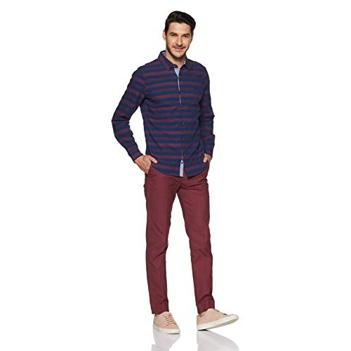 United Colors of Benetton Blue Striped Slim Fit Casual Shirt