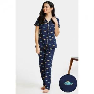 Zivame Pop Fresh Knit Cotton Top N Pyjama Set - Navy