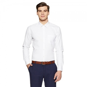 Park Avenue White Polyester Solid Slim Fit Formal Shirt