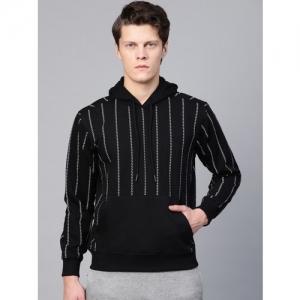 HRX by Hrithik Roshan Men Black & White Lifestyle Hooded Allover Print Sweatshirt