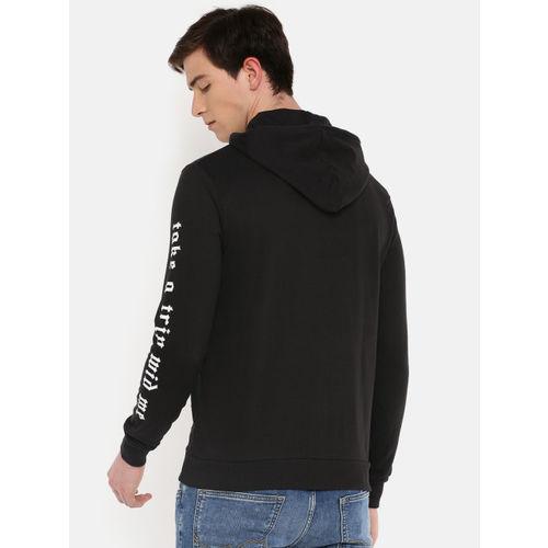 People Men Black Solid Hooded Sweatshirt